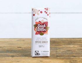 Organic Seed and Bean 58% Dark Chocolate Spiced Ginger Mini Christmas Bar 25g x30