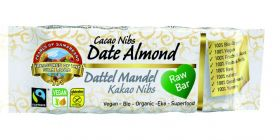Pearls of Samarkand Fairtrade and Organic Raw Date Almond Cacao Nibs Bar 40g x12