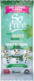 So Free N.A.S. Cool Mint Dark Chocolate Snowman in a Tray 30g x12
