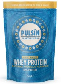 Pulsin natural vanilla whey protein powder 6x250g