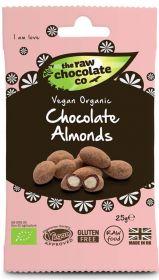 Raw Chocolate Almonds 12x25g Snack Packs