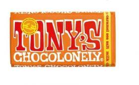 Tony's Chocolonely Fairtrade Milk Chocolate Caramel & Sea Salt 180g x15