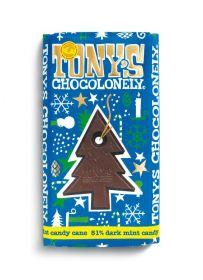 Tony's Chocolonely Fairtrade 51% Dark Mint Chocolate Candycane Bar 180g x15