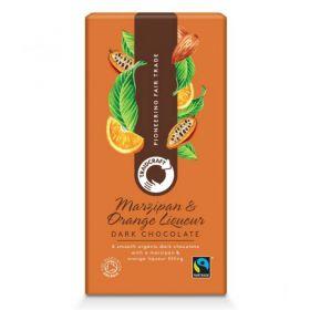 Traidcraft Organic Fairtrade Orange marzipan Liqueur Dark Chocolate 100g x10