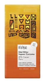 Vivani Organic Superior Dark Ginger Turmeric 89% Cocoa Peru 80g x10