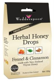 Wedderspoon Fennel Natural Herbal Thyme Honey Drops (20 Drops Per Box) 120g x12